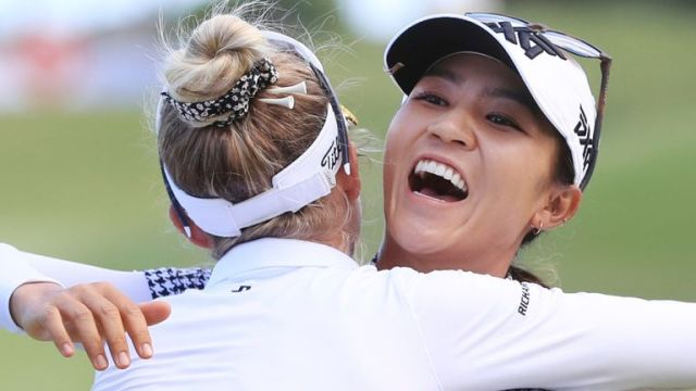 Lydia Ko was congratulated by Nelly Korda, who posted a one-under 71 on the final day