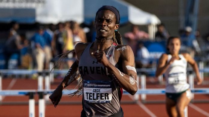 CeCe Telfer competed in the men's 400m hurdles in the US collegiate Division II championships in 2016-17 and won the women's title in 2019.