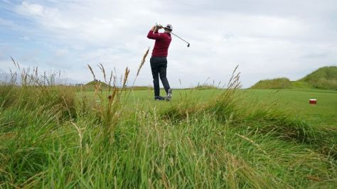 Patrick Cantlay was also familiarising himself with Royal St George's on Monday