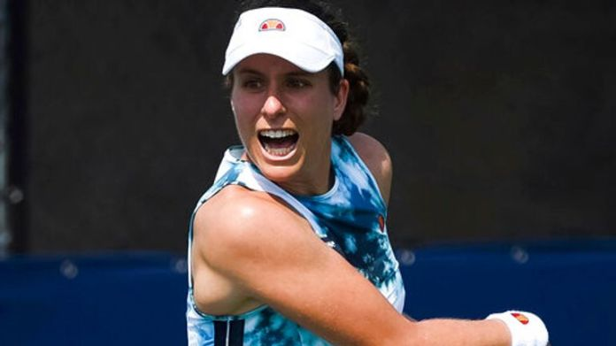 Johanna Konta has been forced to withdraw from her latest match in Montreal due to a left knee injury (Photo by David Kirouac/Icon Sportswire