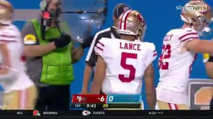 Rookie Trey Lance with his first Touchdown pass in the NFL