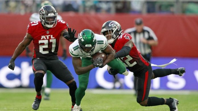 Highlights of the NFL matchup between the New York Jets and Atlanta Falcons from Week 5 of the 2021 season.