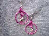 A pair of pink earrings.