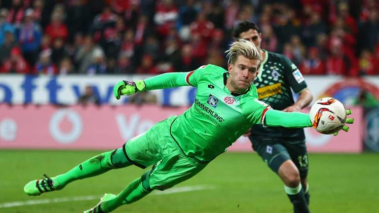 Loris Karius in action for Mainz against Borussia Moenchengladbach in January