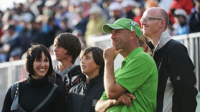 Stewart Cink with wife Lisa and sons Connor and Reagan