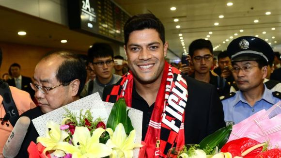 Brazil striker Hulk arrives at Shanghai Pudong International Airport