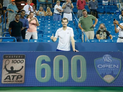 Andy Murray celebrates his 600th victory on the Tour