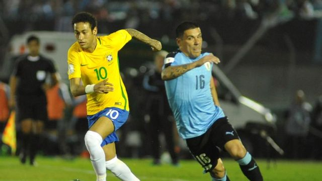 Neymar in action for Brazil against Uruguay