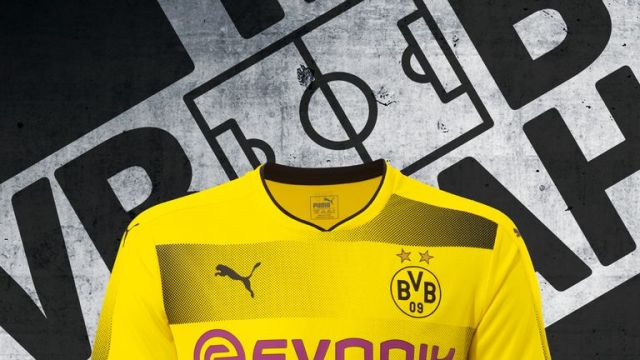 Borussia Dortmund have stuck to their traditional yellow with black gradient stripes for 2017/18. (Pic: Puma)