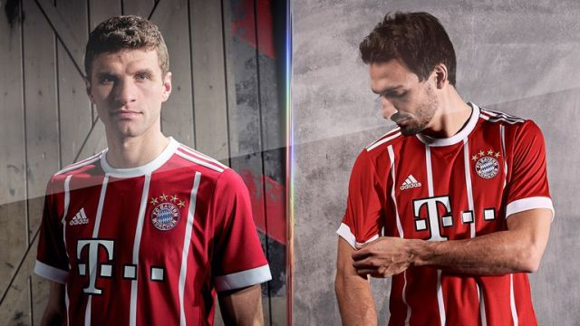 Thomas Muller and Mats Hummels model Bayern Munich's new 2017/18 home kit. (Pic: adidas)