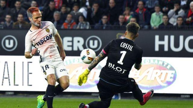 Monaco striker Valere Germain dyed his beard as well as the hair on his head