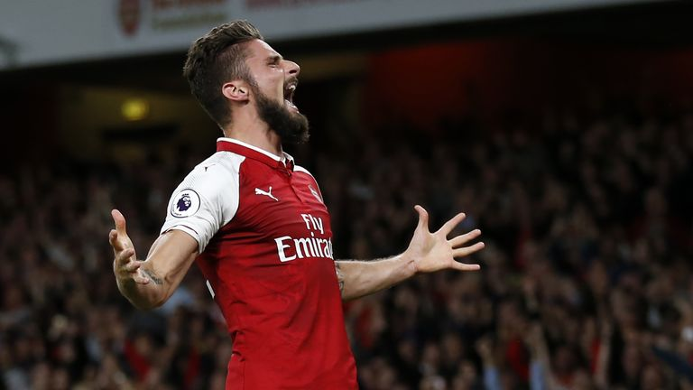 Olivier Giroud celebrates scoring Arsenal's fourth goal