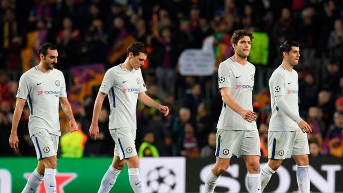 Chelsea players looked dejected after Champions League exit