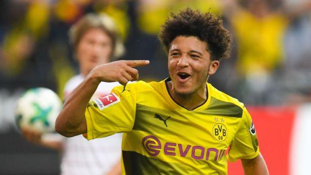 Jadon Sancho scored his first goal for Dortmund last season