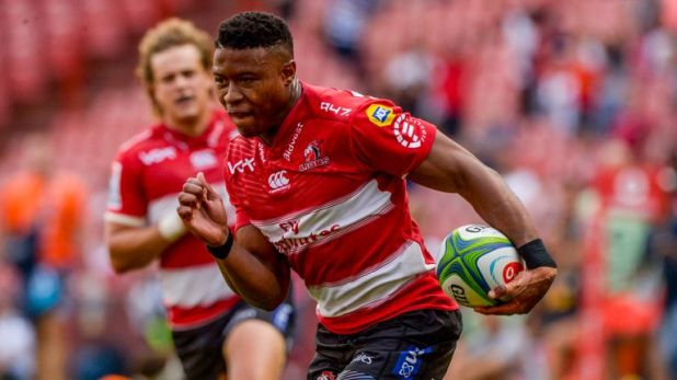 Aphiwe Dyantyi attacks for the Lions