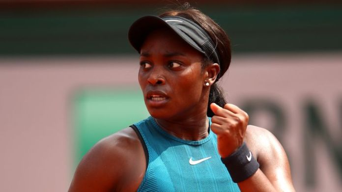 Sloane Stephens celebrates during an impressive first set performance Simona Halep defeats Sloane Stephens to win maiden Grand Slam at French Open | Tennis News Simona Halep defeats Sloane Stephens to win maiden Grand Slam at French Open | Tennis News skysports stephens sloane french 4331753