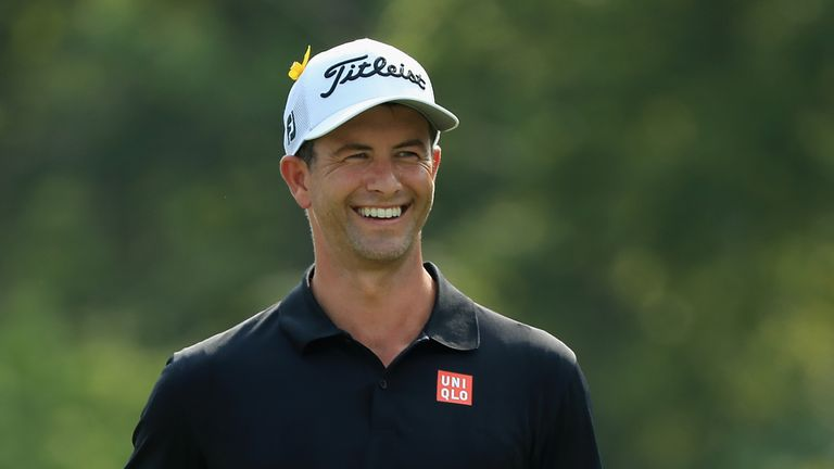 Adam Scott was tied for the lead with four to play