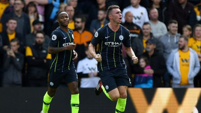 Aymeric Laporte celebrates his equaliser at Molineux