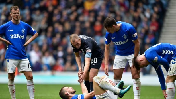 Miller was sent off for a tackle on Rangers' Borna Barisic