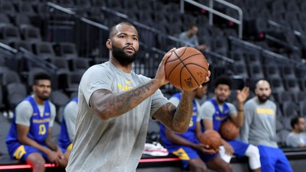 DeMarcus Cousins of the Golden State Warriors at a shootaround ahead of the team's preseason game against the Los Angeles Lakers