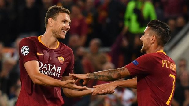 Edin Dzeko has scored five goals in four games for Roma in the Champions League this season