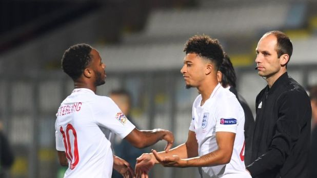 Jadon Sancho came on for his debut against Croatia