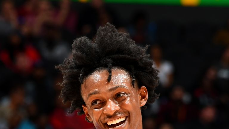 ATLANTA, GA - November 1: De'Aaron Fox #5 of the Sacramento Kings smiles during a game against the Atlanta Hawks on November 1, 2018 at State Farm Arena in Atlanta, Georgia. NOTE TO USER: User expressly acknowledges and agrees that, by downloading and/or using this Photograph, user is consenting to the terms and conditions of the Getty Images License Agreement. Mandatory Copyright Notice: Copyright 2018 NBAE (Photo by Scott Cunningham/NBAE via Getty Images)