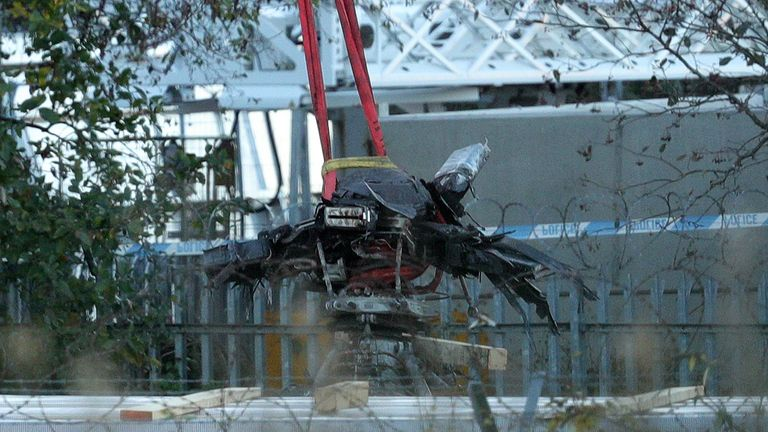 Helicopter wreckage from the Leicester City helicopter crash has now been moved to Farnborough