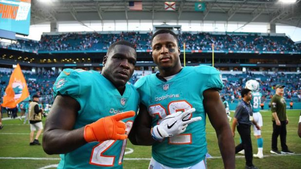 T.J. McDonald (right) celebrates with Dolphins team-mate Frank Gore after their win