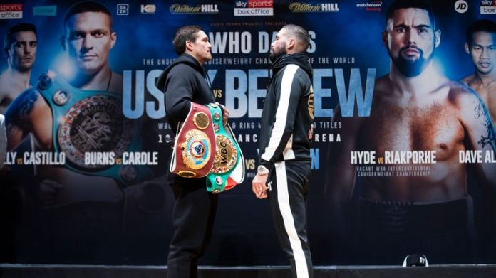 Tony Bellew challenges Oleksandr Usyk for all cruiserweight belts in the world