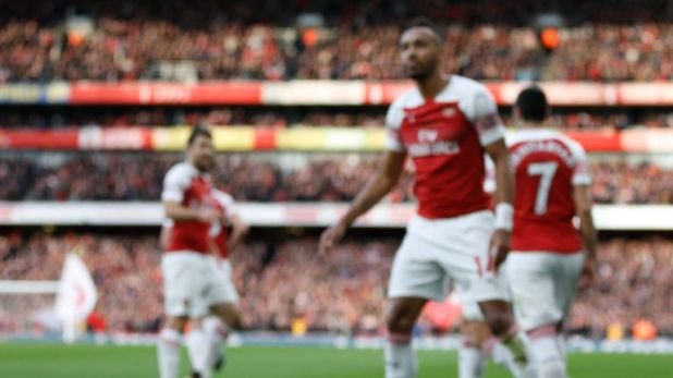 A banana skin was thrown onto the Emirates pitch following Pierre-Emerick Aubameyang's goal for Arsenal against Tottenham