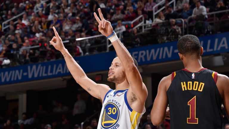 CLEVELAND, OH - DECEMBER 5:  Stephen Curry #30 of the Golden State Warriors reacts against the Cleveland Cavaliers on December 5, 2018 at Quicken Loans Arena in Cleveland, Ohio. NOTE TO USER: User expressly acknowledges and agrees that, by downloading and/or using this Photograph, user is consenting to the terms and conditions of the Getty Images License Agreement. Mandatory Copyright Notice: Copyright 2018 NBAE (Photo by David Liam Kyle/NBAE via Getty Images)