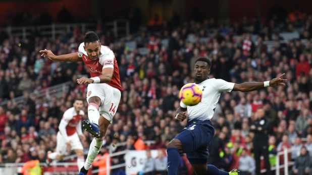 Pierre-Emerick Aubameyang notching his second in the north-London derby