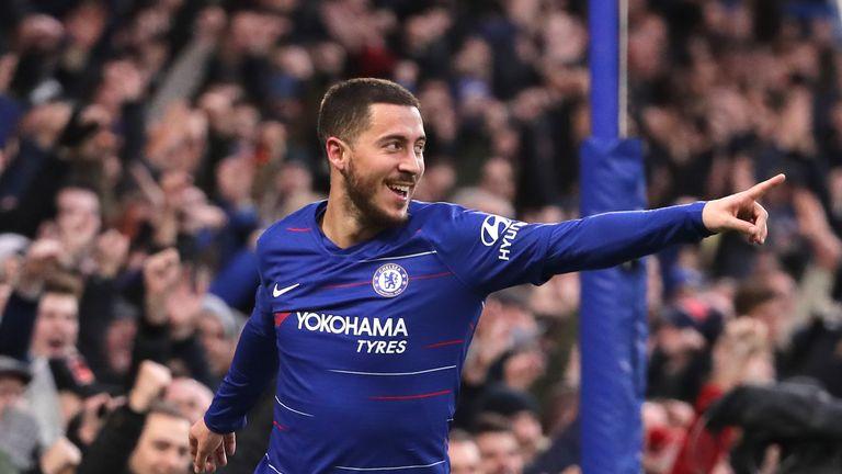 Eden Hazard celebrates scoring his second and Chelsea's third goal