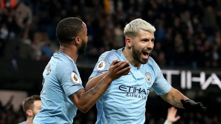 Aguero celebrates his hat-trick goal against Arsenal