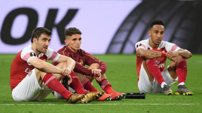 Arsenal players were left looking dejected after the final whistle