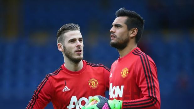 Solskjaer says he is happy with his goalkeeping department, which includes Sergio Romero (right) and Lee Camp as back-ups