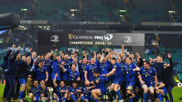 Leinster celebrate with the cup after the Guinness PRO14 Final