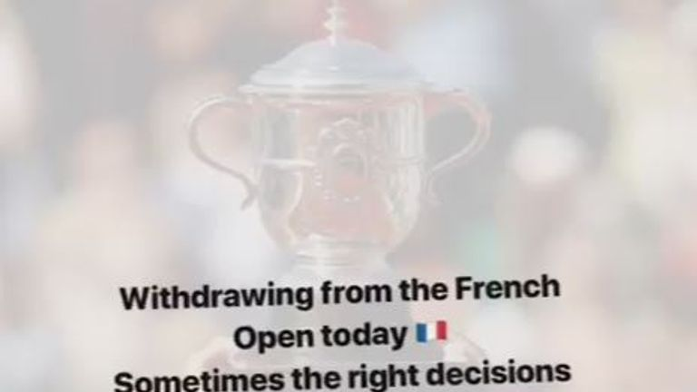 Sharapova confirmed she has withdrawn from the French Open on her mariasharapova Instagram account