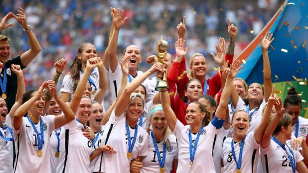 The USA team celebrate winning the 2015 Women's World Cup in Vancouver