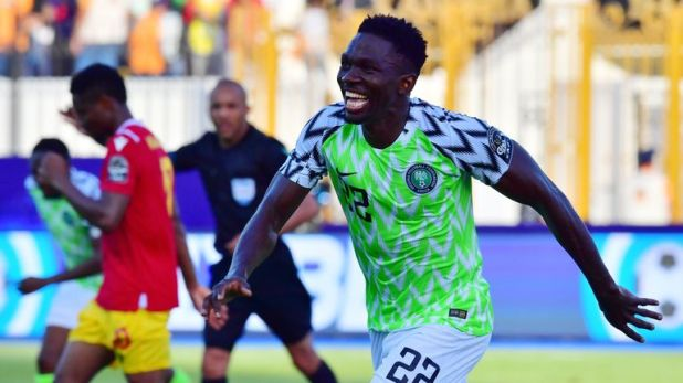Kenneth Omeruo celebrates his goal for Nigeria