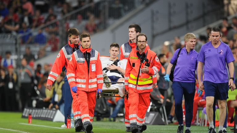 Juan Foyth was stretchered off during Spurs' penalty shootout win against Bayern