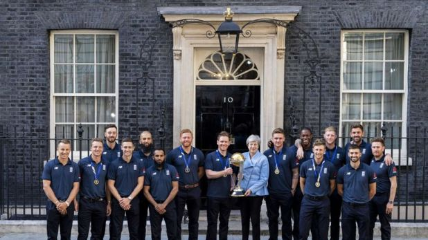 Theresa May hosted England's World Cup-winning cricket team at Downing Street on Monday 15 July