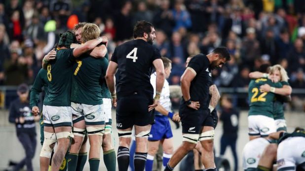 South Africa show their relief after beating New Zealand in the 2018 Rugby Championship
