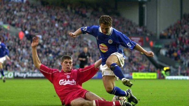 Eadie in Premier League action for Leicester against Liverpool's Steven Gerrard