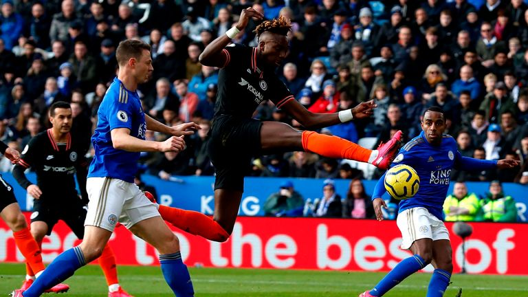 Tammy Abraham is inches away from giving Chelsea the lead
