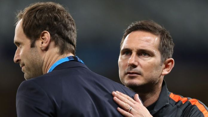 Technical and performance adviser Petr Cech (L) oversees transfers to Chelsea alongside head coach Frank Lampard (R).