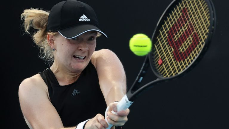 Francesca Jones was beaten in straight sets on her Grand Slam debut