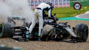 George Russell and Valtteri Bottas fall: Drivers blame each other for causing 'dangerous' Imola collision