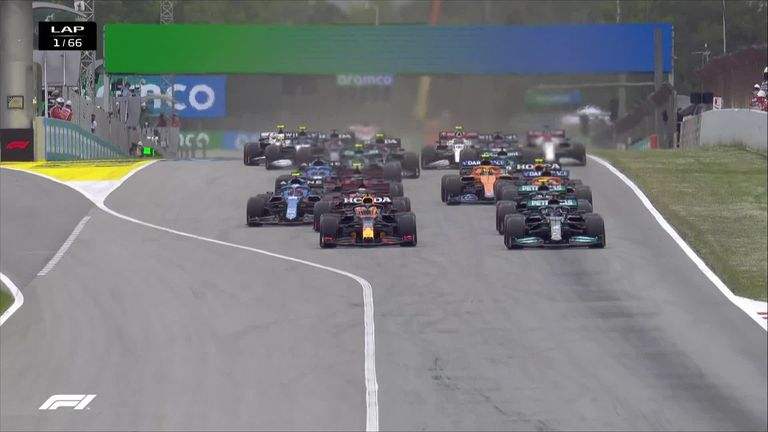 Max Verstappen was the early race leader in the Spanish Grand Prix after out-manoeuvring Lewis Hamilton on the first corner